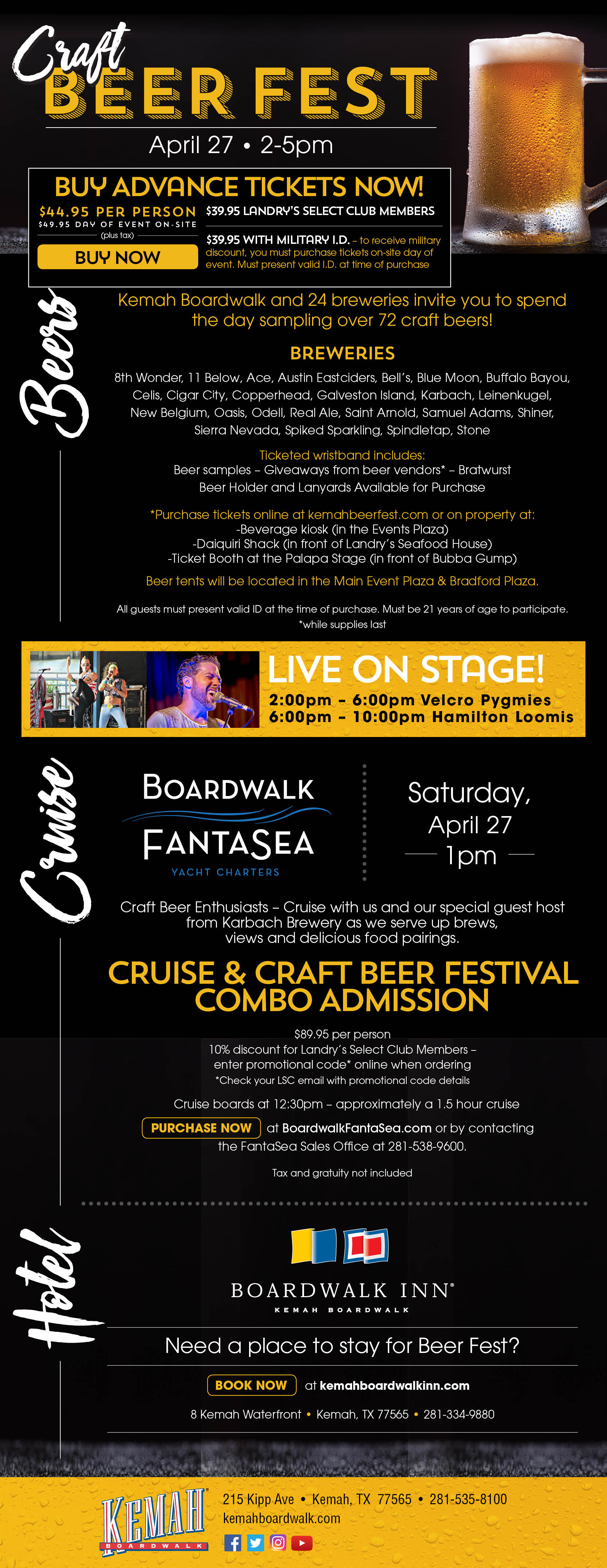 Kemah Boardwalk Craft Beer Fest will be help September 15, 2018 from 2pm-5pm. Buy your tickets now before they sell out!